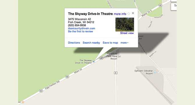 Map to Skyway Drive-In
